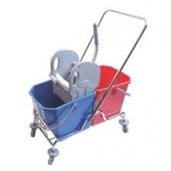 Çift Kovalı Temizlik Arabası (Metal Presli)